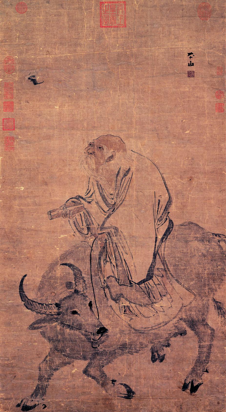 Stampa antica cinese di Lozi che migra a cavallo di un mulo